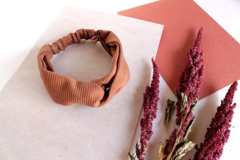 咖啡奶茶條紋織紋鬆緊髮帶