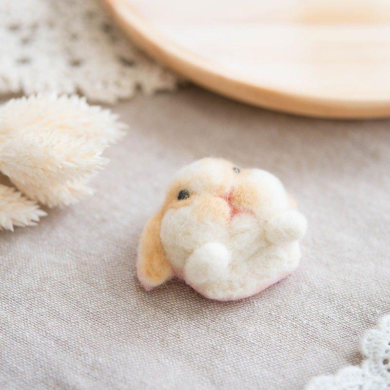 肥嘟嘟垂耳兔兔頭羊毛氈別針 聖誕禮物(附影片教學)