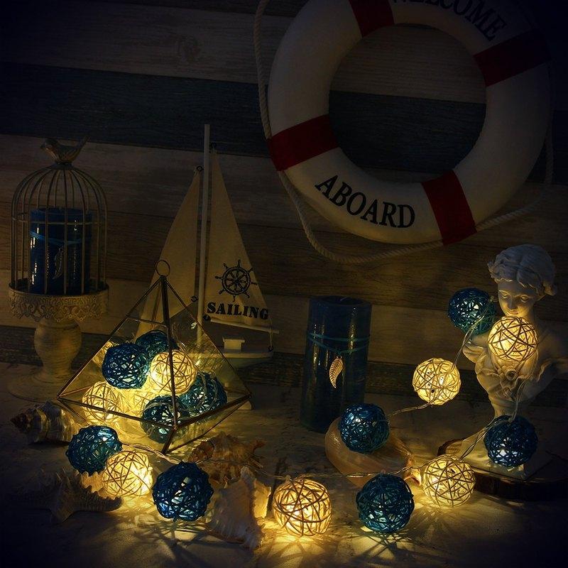"HomePlus 創意燈飾 籐球燈串 ""電池款"" 碧海藍天 長度2m LED氣氛燈 聖誕節 交換禮物 情人節 浪漫婚禮 生日派對飾品"