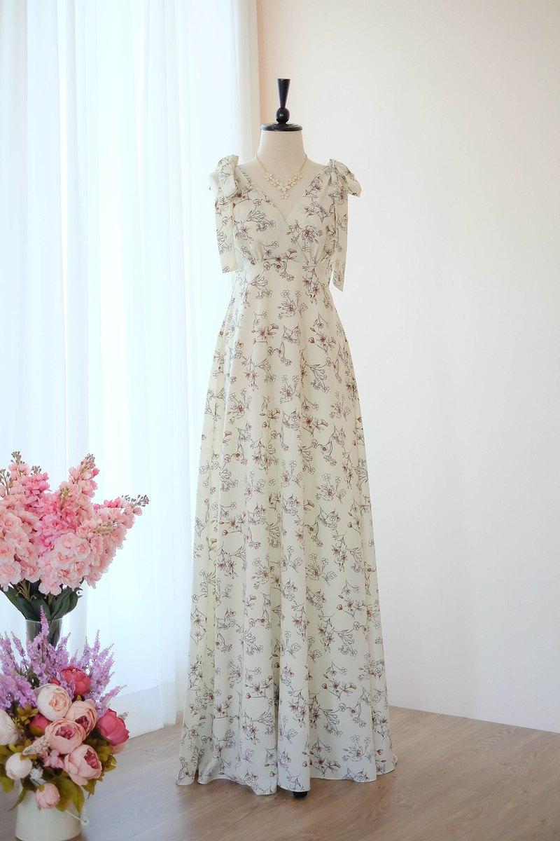 奶油碎花連衣裙新娘禮服伴娘禮服長款晚禮服