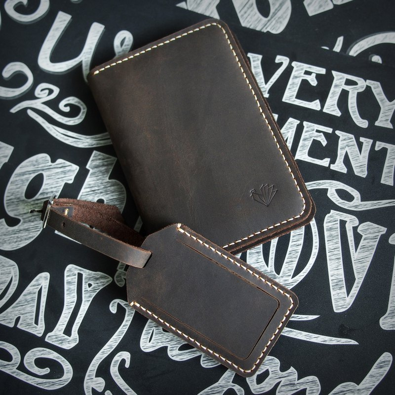 旅行者套裝,護照夾+吊牌,行李牌,瘋馬真皮