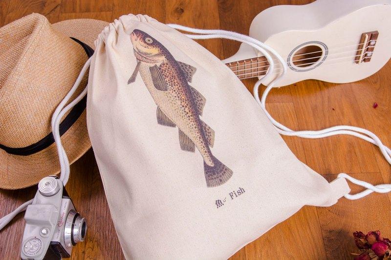 束口帆布後背包 - 魚 Fish