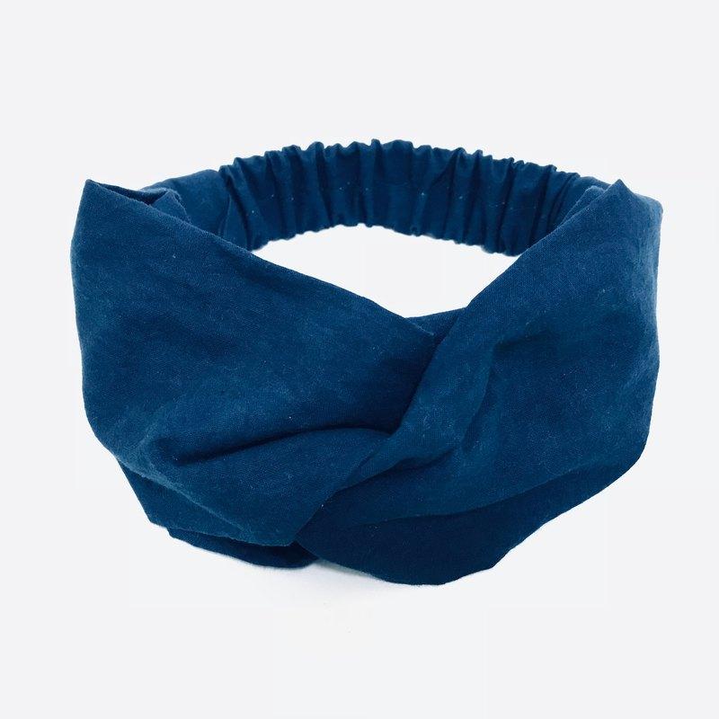 藍染 寬版交叉髮帶(素色深藍) 植物染