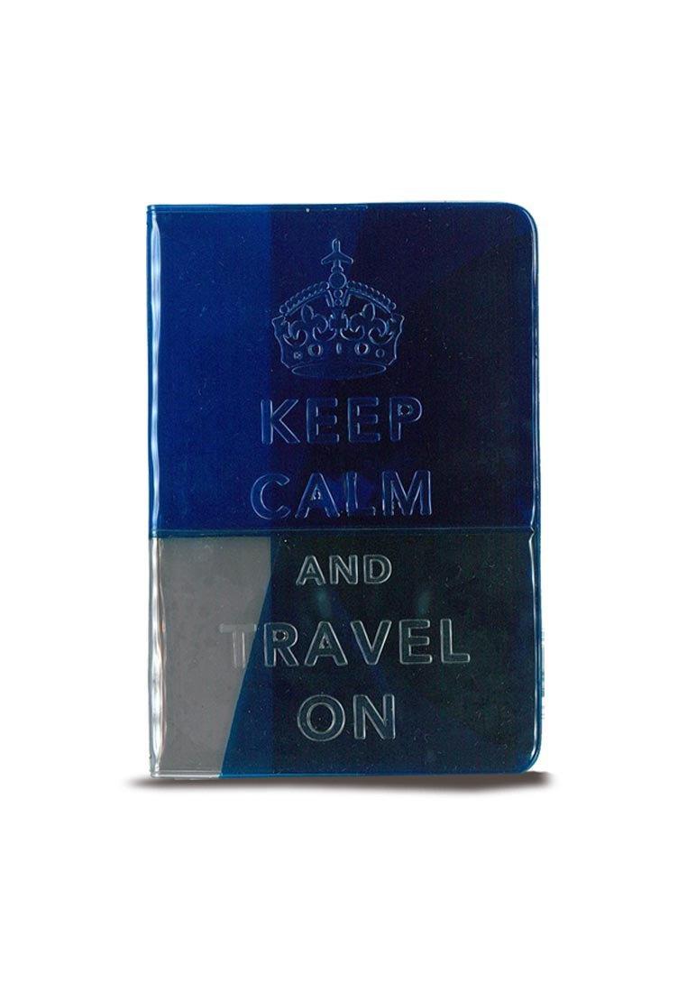 Keep Calm霓虹果凍護照套  - 海軍藍 透明