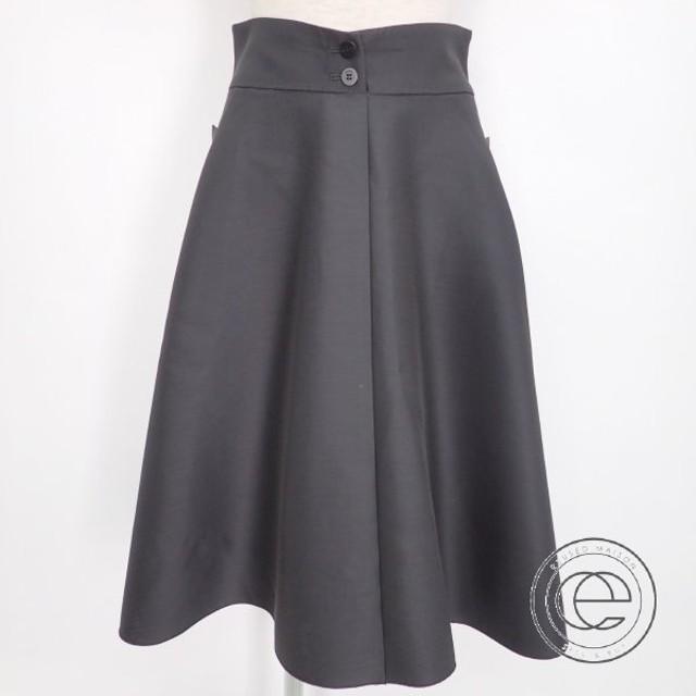 美品   FOXEYフォクシー 36558 Skirt Triangle シルク/ウール フレアスカート38 チャコールグレー レディース