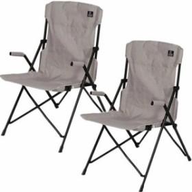 クイックキャンプ (QUICKCAMP) ハイバックチェア 2脚セット グレー QC-HFC*2 アウトドア用 軽量 折りたたみ チェア 椅子 イス 集束式