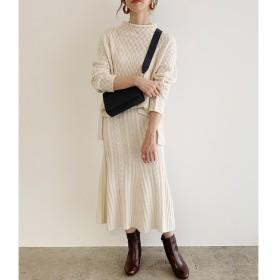 【ロペ マドモアゼル/ROPE madmoiselle】 【WEB限定】ケーブルニットスカートセットアップ