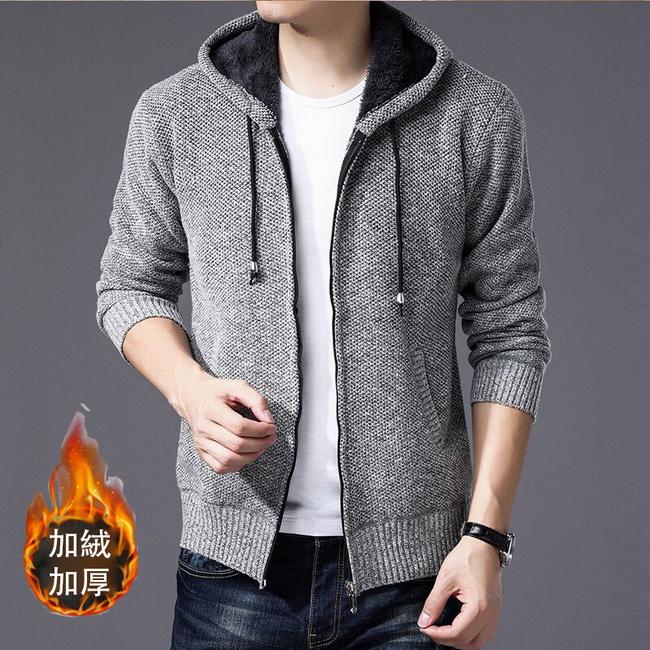 FOFU-針織外套加絨保暖開衫連帽針織外套修身毛衣【08B-F0643】