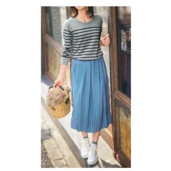 セシール CECILE カットソープリーツスカート(70cm丈) (クラウドブルー)