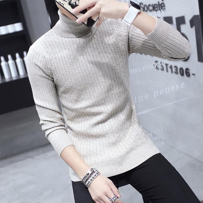 FOFU-針織衫高領毛衣男年素色翻領線衣【08B-B1919】