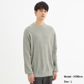 (GU)ワッフルクルーネックセーター(長袖) GRAY S