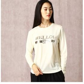 【COMME CA:トップス】スパンコールロゴTシャツ