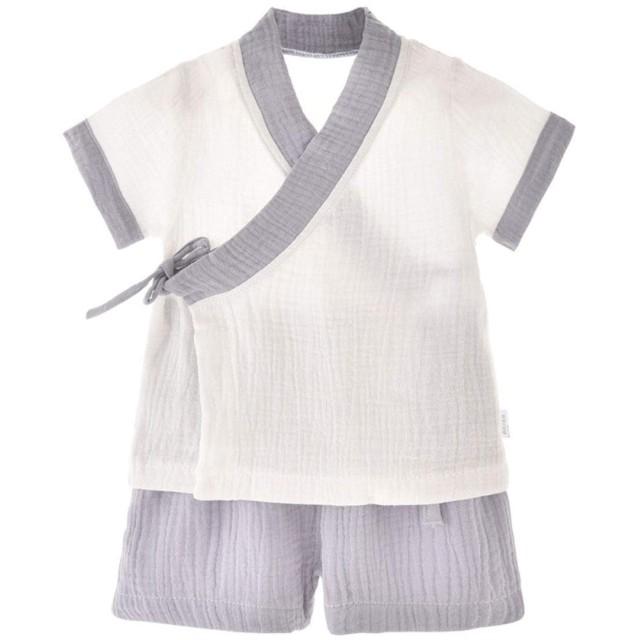 ベビー服 コットン ベルト浴衣 甚平 半袖 パンツ カバーオール 女の子 男の子 和装 夏祭 着物