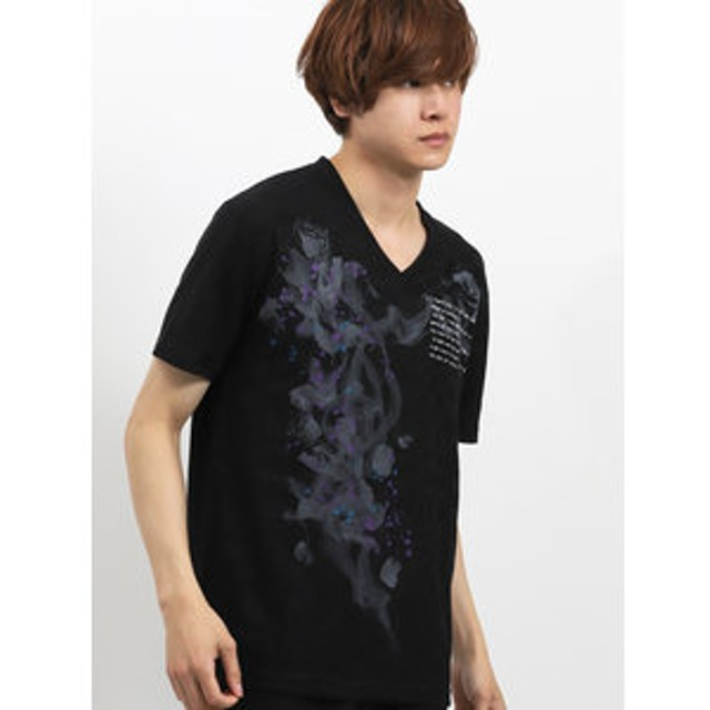 【semantic design:トップス】ブライトジャガード グラフィックVネック半袖Tシャツ