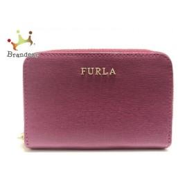 フルラ FURLA コインケース 美品 ピンク ラウンドファスナー レザー 新着 20191005