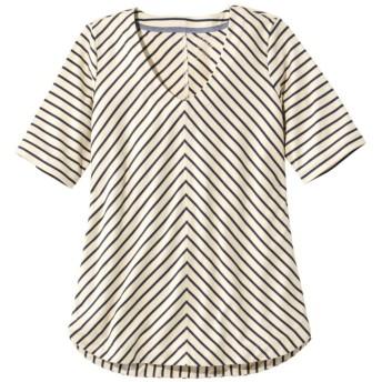 ピマ・コットン・ティ、Vネック・チュニック ストライプ/Pima Cotton Tee, V-Neck Tunic Stripe