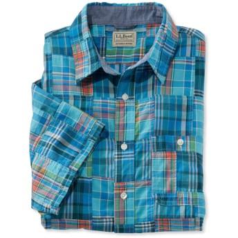 エル・エル・ビーン・マドラス・シャツ、スライトリー・フィット 半袖 パッチワーク/L.L.Bean Madras Shirt, Slightly Fitted Short-Sleeve Patchwork