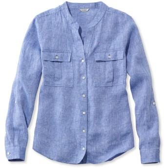 プレミアム・ウォッシャブル・リネン・ロール・タブ・シャツ、長袖 無地/Premium Washable Line Roll-Tab Shirt, Long-Sleeve Solid