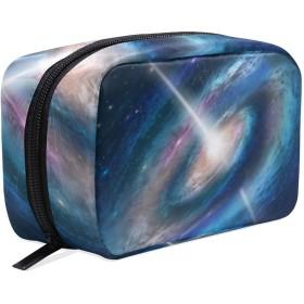 FengJu 化粧ポーチ 大容量 可愛い メイクポーチ コンパクト 機能的 おしゃれ 持ち運び コスメ収納 仕切り ミニポーチ バニティーケース 洗面道具 携帯用 星空 惑星 宇宙