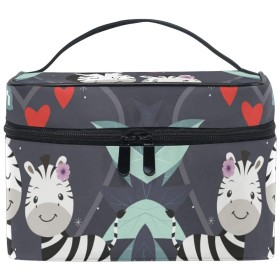 ウマシマウマ化粧品袋オーガナイザージッパー化粧バッグポーチトイレタリーケースガールレディース