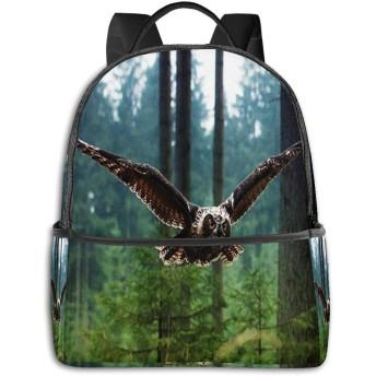 カジュアルバックパックファッションバックパック大容量学校レジャー旅行アウトドアビジネスワークコンフォートユニセックス 鳥フクロウ1