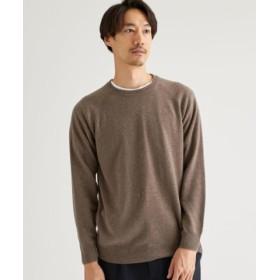 (green label relaxing/グリーンレーベルリラクシング)CM ウールカシミヤ 天竺 クルーネック セーター/メンズ BEIGE