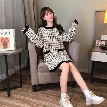 独特なシルエットに魅了される。 韓国 気質 中・長セクション セーター 女性 ゆったりする ファッション 秋冬 怠惰な風 ニットワンピース カジュアル 百掛け