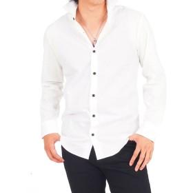 トップイズム 日本製ホリゾンタルカラー長袖シャツ メンズ ホワイト LL 【TopIsm】