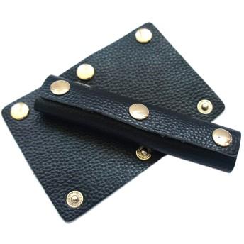 バッグ持ち手カバー 本革 かごバッグ トートバッグ ビジネスバッグ レザー ハンドルカバー 2個セット 黒