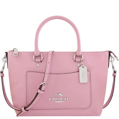 COACH 珍珠粉色荔枝紋皮革手提/斜背兩用包