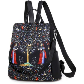 BTSMAT 女性盗難防止バックパックプリント軽量旅行リュックショルダーバッグ