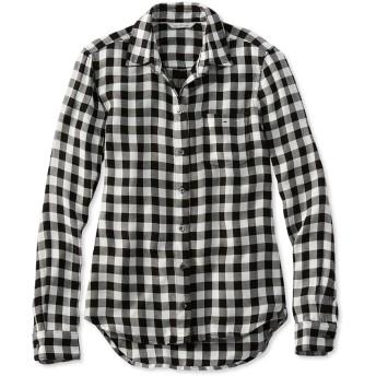 シグネチャー・ドレーピー・ボタンフロント・シャツ、チェック/Signature Drapey Button-Front Shirt, Check