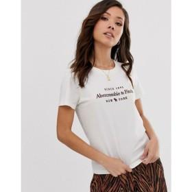 アバクロンビー&フィッチ Abercrombie & Fitch レディース Tシャツ トップス logo t-shirt ホワイト