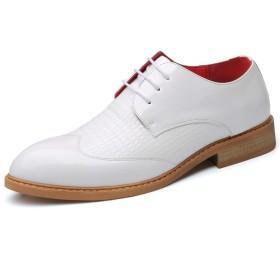 [HEHE-haha] ビジネスシューズ 紳士靴 メンズ 本革 ストレートチップ ビジネスオックスフォードシューズ男性用フォーマルシューズレースアップスタイルマイクロファイバーレザー個々のテクスチャパターンアッパーパーティー (Color : 白, サイズ : 25 CM)