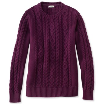 ダブル・エル・ミックス・ケーブル・セーター、クルーネック/Double L Mixed-Cable Sweater, Crewneck
