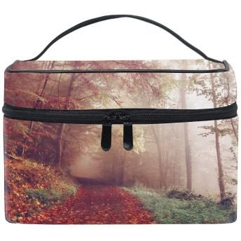 レディース空の秋の森の道 小物入れケース 化粧ポーチ 小物用収納ポーチ 化粧品収納袋