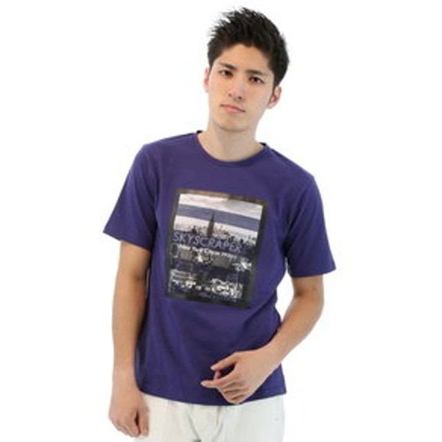 【semantic design:トップス】フォトプリントワッペンクルーネック半袖Tシャツ