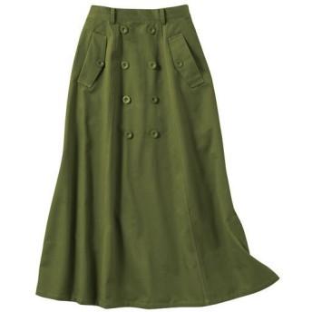 40%OFF【レディース】 ロングチノスカート(綿100%) ■カラー:オリーブ ■サイズ:S,M,L,3L