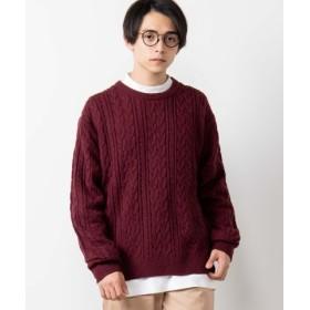 (WEGO/ウィゴー)【至極の逸品】WEGO/ケーブルクルーネックセーター/メンズ ワイン
