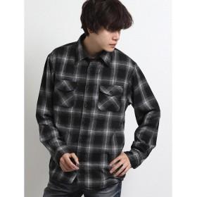 タカキュー 裏シャギーオンブレーチェック レギュラーカラー長袖シャツ メンズ ブラック L 【TAKA-Q】