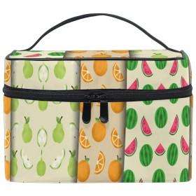 レモンフルーツをペイント化粧品 バッグ オーガナイザー ジッパー メイク バッグ ポーチ トイレタリー ケース 女の子 女性用