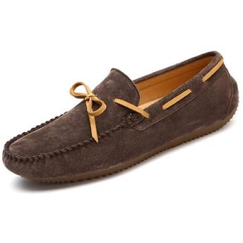 [HDMMA] ドライビングシューズ 紳士靴 ウォーキングシューズ デッキシューズ ローファー メンズ 革靴 スリッポン モカシン リボン レースアップ 夏 通勤 通気性 歩きやすい スエード調 ブラック グレー カーキ