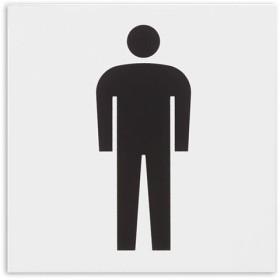 (まとめ) 光 アクリルマット板サイン 男マークテープ付 タテ100×ヨコ100×厚み2mm 白 KMP1051-1 1枚 〔×10セット〕