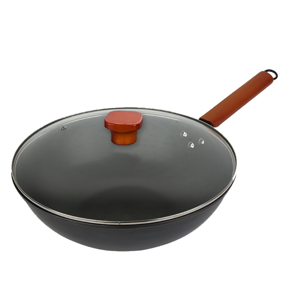 加厚款 鑄鐵無塗層 不沾炒鍋(K0056)