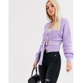 ミスガイデッド Missguided レディース カーディガン トップス belted cardigan with balloon sleeves in lilac ライラック