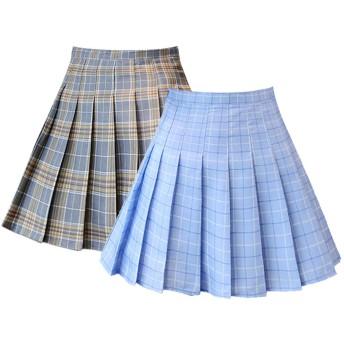 Dressystar(ドレッシースター) プリーツスカート ミニフレアスカート ハイウエスト 学院風 高校日系スカート女子高生 無地 チェック柄 2点セット グレーグリッド×ブルーグリッド Lサイズ