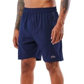 メンズ ハーフパンツ ランニングショーツ スポーツパンツ フィットネスパンツ 吸汗速乾 半ズボン ポケット付き ファスナーポケット スポーツ カジュアル ファッション (Blue, 2XL)