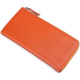 [レガーレ] 長財布 カードケース付き L字ファスナー シンプル財布 財布 本革 カーボンレザー 7色 オリジナル化粧箱入り (オレンジ)