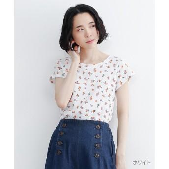 メルロー 花柄サーマルTシャツ レディース ホワイト FREE 【merlot】