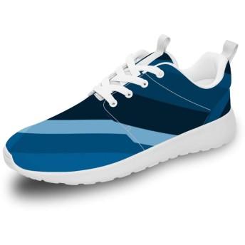[XFTEN] スニーカー レディース メンズ カップル 青の縞 ストライプ 10.5women/9men ランニングシューズ ウォーキングシューズ スポーツシューズ 運動靴 旅行シューズ トレーニングシューズ